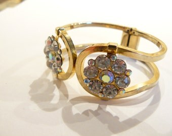 Beautiful Vintage Clear & AB Rhinestone Juliana Style Clamper Bracelet