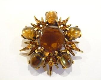 Stunning Vintage Topaz Rhinestone & Glass Brooch / Pin