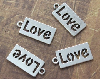 10 Love Charms Love Pendants Antiqued Silver Tone 23 x 11mm