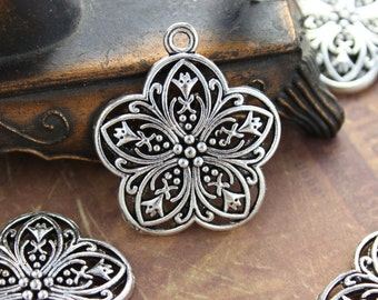 20 Flower Charms Flower Pendants Antiqued Silver Tone 25 x 25 mm