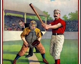 Art Print Old Baseball Poster 1895 -  Print.