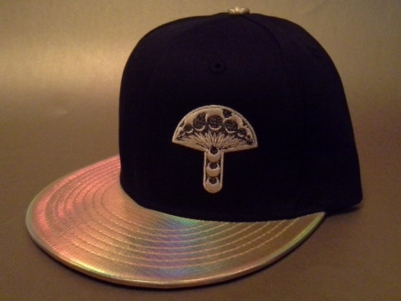 4232e0348db Golden Holographic Mushroom Crop Circle Snapback Hat black