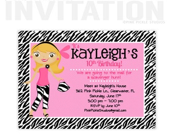 Zebra Invitations, Teen Birthday Party Invitations, personalized thank you cards, birthday invitations, party invitations / No.362