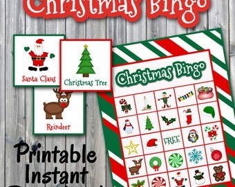 Christmas Bingo Printable PDF - 30 different Cards - Christmas Memory Game - Party Game Printable - INSTANT DOWNLOAD