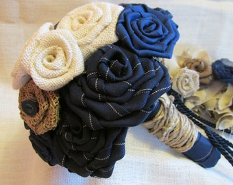 Wedding Bouquet - Navy and Creme Rustic Fabric Flower Bouquet - CLEARANCE SALE
