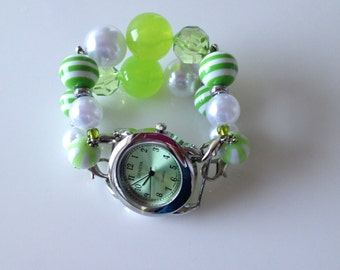 Double Stranded Lime Green Beaded Watch Band (128)