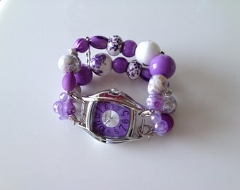 Double Stranded Womens Lavender & White Beaded Watch Band Set (248)