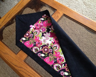 Table Runner, Handmade Flowered Black & Pink Fabric Table Runner, Table Decor, Home Decor, Gift, Gift for Her, Mothers Day Gift