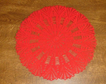 Crocheted doily Red doily Lace doily Crochet doily lace doilie Crochet doilie Red crochet doily Table decoration