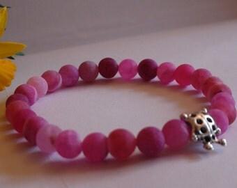 Gemstone stretch bracelet Agate beads Women's jewelry Women's bracelet Pink bracelet Handmade bracelet