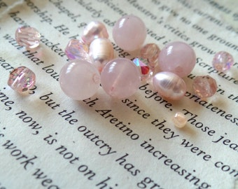 Beads, Pink, Variety Mix, Round, Fresh Water Pearls, Jewelry Making. Filler, Spacer, Accent, Craft Supplies, Destash