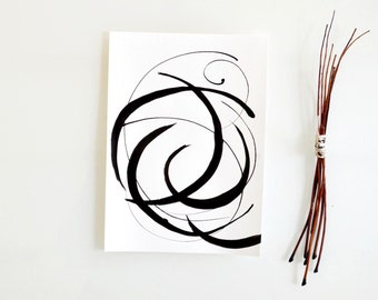 Original abstract art ink drawing -Serie Moving wind-Black and white,modern, minimal,ink dark, movement, art ink by Cristina Ripper