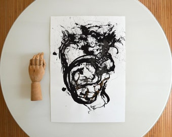 A2 Original Abstract Ink Art Drawing  - Movement, wind, art, hearth,black and white abstract art drawing,art by Cristina Ripper