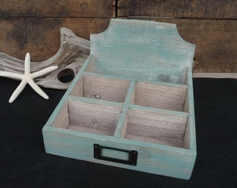 Hand Painted Wood Desk Top Paper Letter File Tray Box~ Distressed Weathered Look ~ Beach Blue - Organization