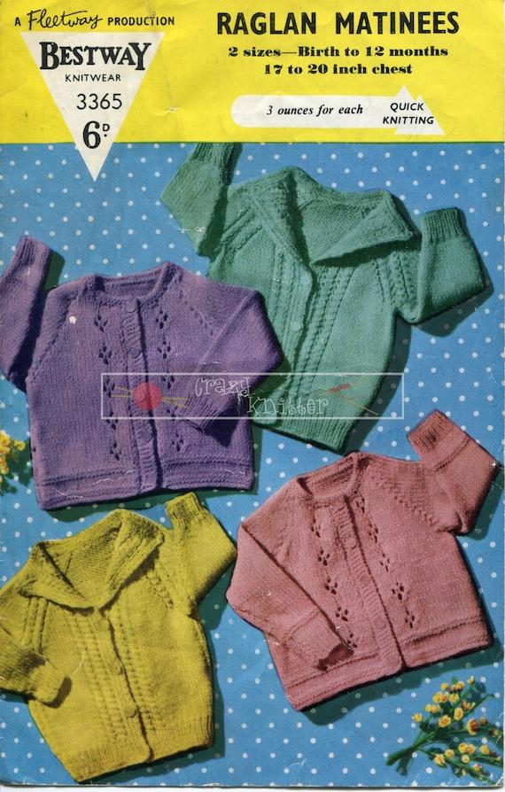 Baby Raglan Matinees DK 17-20ins Bestway 3365 Vintage Knitting Pattern PDF instant download