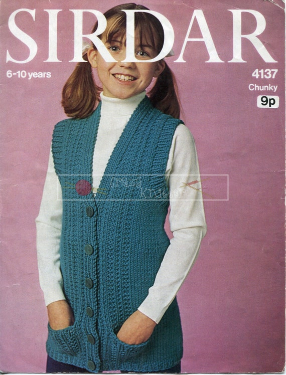 Preteen Girl's Sleeveless Tunic Chunky 6-10 years Sirdar 4137 Knitting Pattern PDF instant download