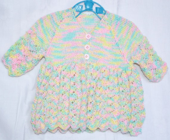 Hand Knitted Baby Girl's Matinee Coat Pink Blue Yellow Green 3 ply Wool Silk Cashmere 1 - 6 months