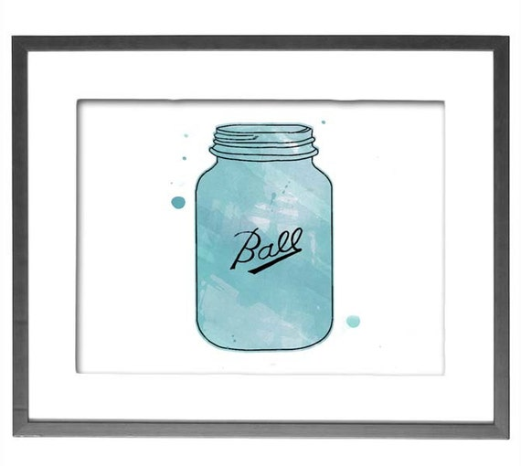 "INSTANT DOWNLOAD - Watercolor Mason Jar - 8""x10"" Printable Art"