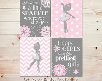 Nursery Art Toddler Girls Room Ballerina Wall Decor She