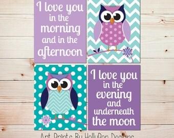 Nursery print set Purple owl art Baby owl prints Purple turquoise nursery Owl baby art Baby wall art Girl wall art Twins art prints  #1131