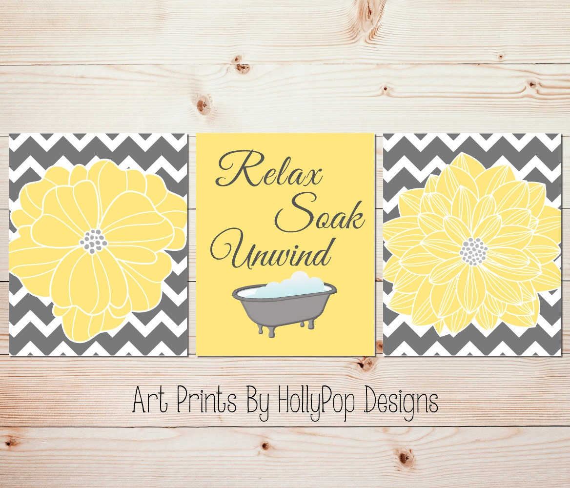 Yellow Gray Bathroom Wall Decor Bathroom Art Prints Yellow - Gray bathroom accessories set for bathroom decor ideas