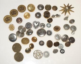 50 Vintage Metal Buttons