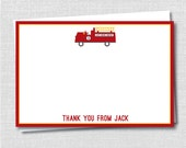 Fire Truck Custom Thank You Notecard - Fire Engine Thank You - Digital Design or Printed Notecards - FREE SHIPPING