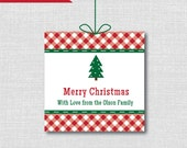 Classic Christmas Tree PERSONALIZED Gift Tags - Red Gingham Christmas Tree Tag - Digital Design or Handcrafted Tags - FREE SHIPPING