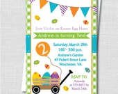 Easter Wagon Birthday Invitation - Spring Boy Girl Birthday Party - Digital Design or Printed Invitations - FREE SHIPPING