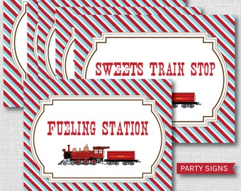 INSTANT DOWNLOAD - Printable Vintage Train Party Signs - Vintage Train Birthday - Set of Six Party Signs