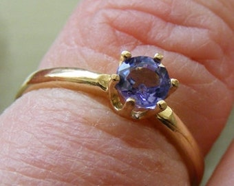 14k Gold Genuine Natural Tanzanite 4mm Round Cut Solitaire Ring .40ct size 6.5