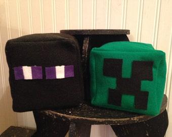 Minecraft Inspired Creeper and/or Enderman Felt Block Set, Stackable Play Block/Cube, Handmade