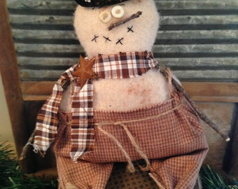 Primitive Chubby Winter Snowman with Overalls, Doll or Wall/Door Hanger