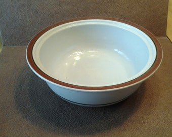 On Sale Collectible Kitchen Sierra Stoneware Large Brown Rimmed Serving Bowl Brown and Tan