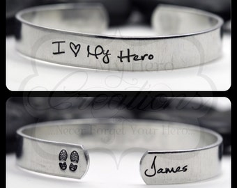 "Hand Stamped Personalized ""I Love My Hero"" Cuff Bracelet (Military / Firefighter / LEO / Police / Deputy Sheriff)"