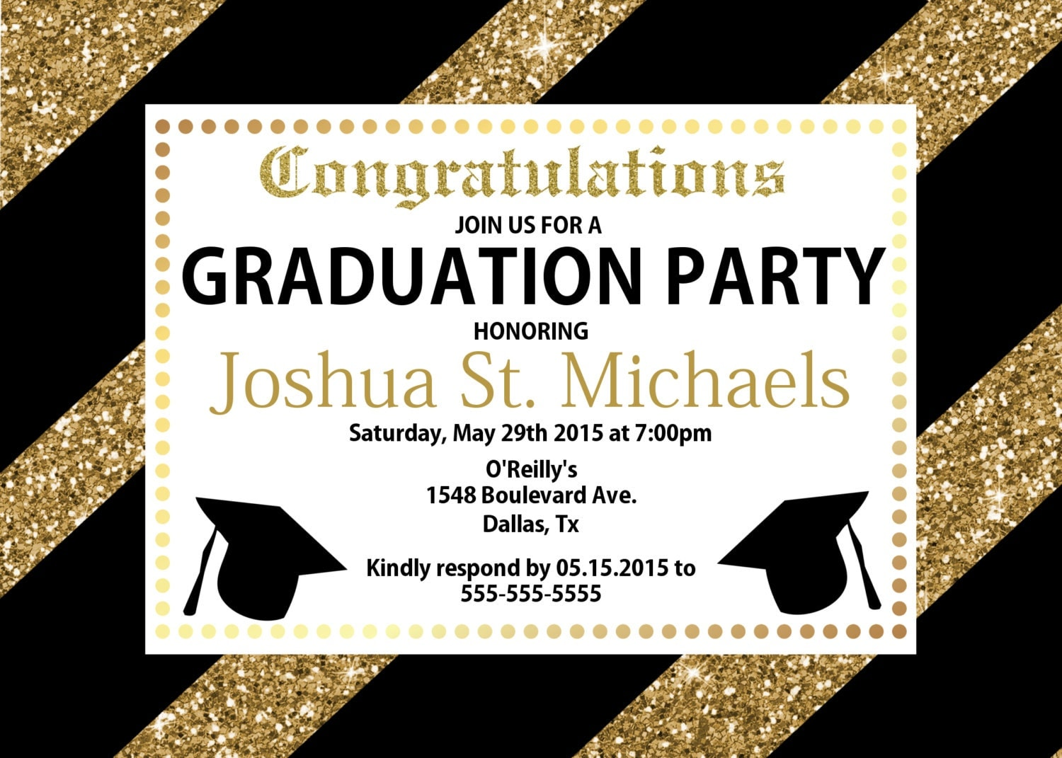 GLITTER Graduation Invitation Black and Gold Graduation – Black and Gold Graduation Invitations