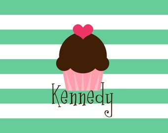 """Personalized Placemat - Valentine heart cupcake love laminated 12x18"""""""