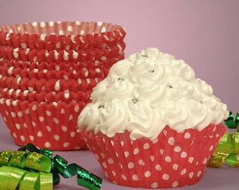 12 Red with White Polka Dot Cupcake Liners, Baking Cups
