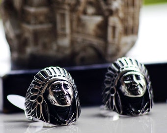 Ancient Indian Chief Ring Punk Style Stainless Steel Ring for Man
