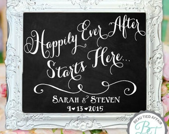 Happily Ever After Starts Here • Wedding Chalkboard Sign • Personalized Welcome Sign