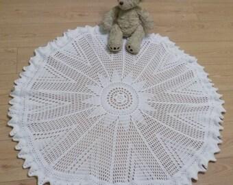 Large Circular Crochet Baby Blanket