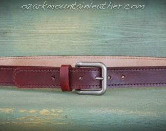 Custom made Leather Gun Belt with antique silver tone buckle in a variety of colors.