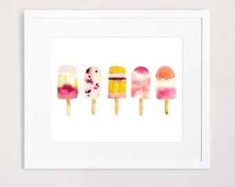 Oh Summer - Popsicle Watercolor Art Print in Cheerful Fuchsia, Tangerine and Berry Tones