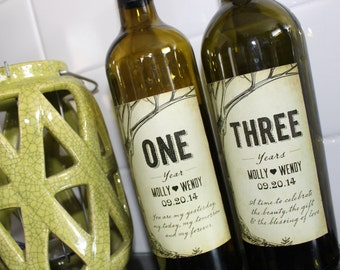 Custom Anniversary Wine Labels, Rustic, Wooden, Tree - Printed and Digital Files Available