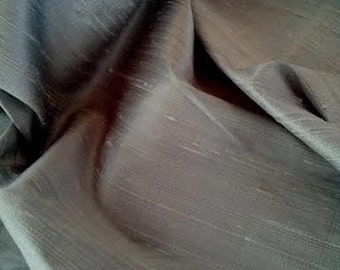 "Silver Grey Silk Dupion Fabric, Width 54"", Sold By the Yard, Home Decor"