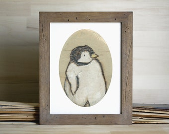 Baby Penguin Art Print, Penguin Wall Art, Penguin Painting, thepaintedgrove