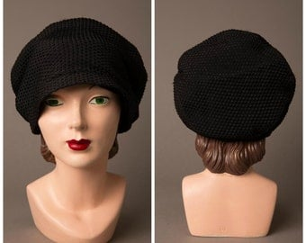 1920s Black Slouch Cloche Hat
