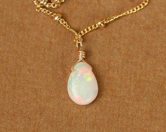 Opal necklace - fire opal necklace - opal - october birthstone - a genuine opal teardrop wire wrapped onto 14k gold vermeil chain