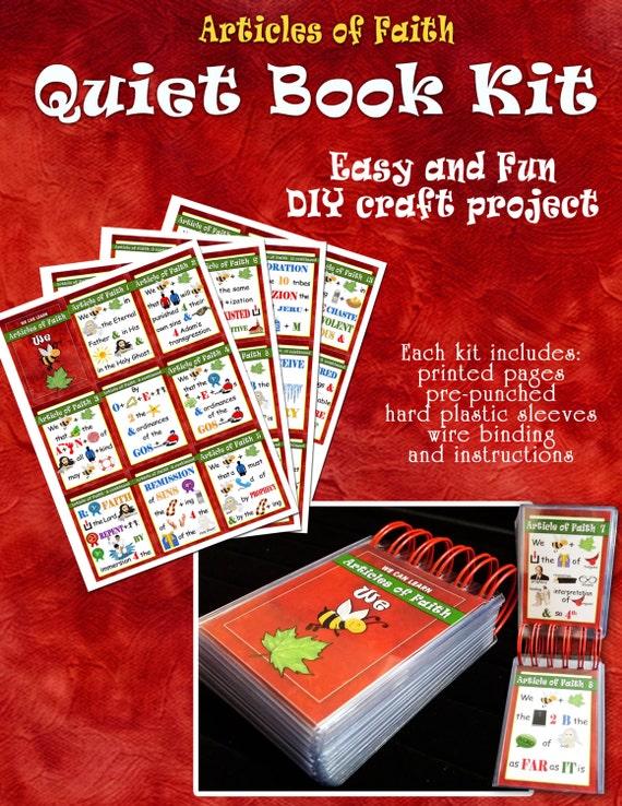 Quiet Book Kit - Articles of Faith - Sacrament Book - DIY Craft Kit or Assembled - Flash Cards - Memorize