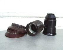 Bakelite Lamp Socket, Set of Two Electrical Threaded Sockets with Lamp Shade Ring, Vintage Lamp Repair Parts, Russian 1960s Soviet Union